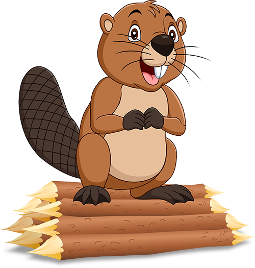 cartoon beaver on a log pile