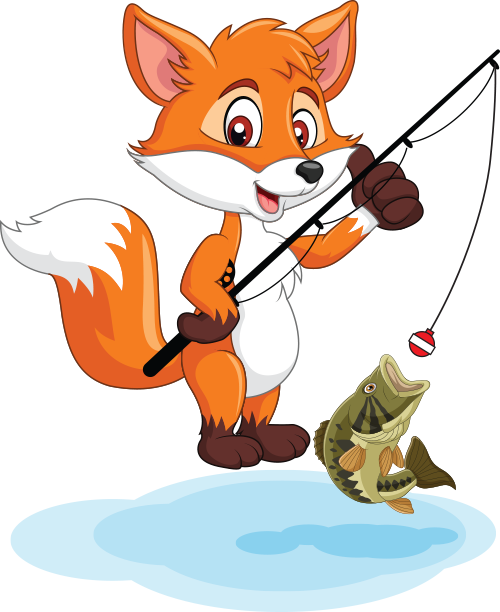 cartoon fox fishing