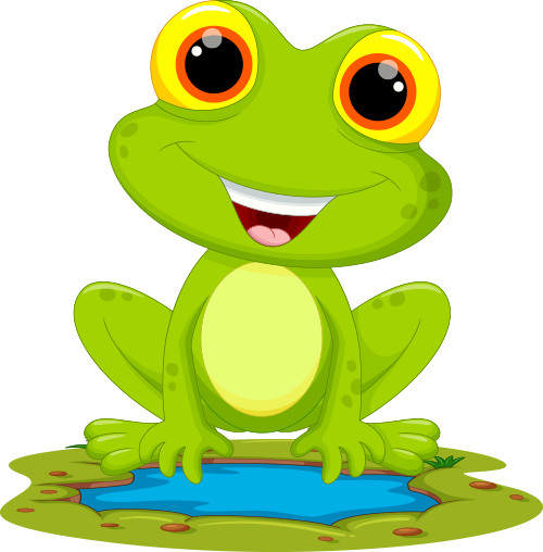 cartoon frog on pond water