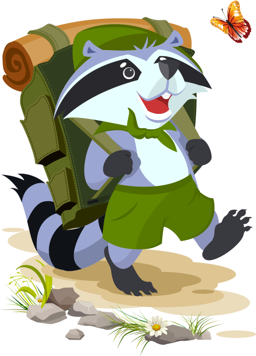 cartoon raccoon on a hike wearing a packpack